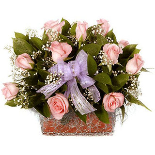 Gifts Valley Sweet  Soft Pink Roses Basket Gift Items