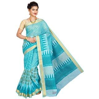 Korni Cotton Gadwal Saree RR-10001-Blue KR0322
