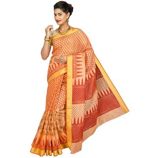 Korni Cotton Gadwal Saree RR-10001-Orange KR0324