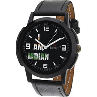 Evelyn Round Dial Black Leather Strap Mens Quartz Watch