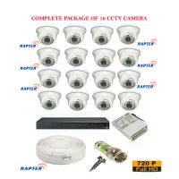 Rapter CCTV FULL COMBO KIT, 36IR (720P) Bullet Camera 16Pcs