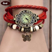 Red Leather Strap Watch Hand-knitted Leather Watch Women' Watches Red