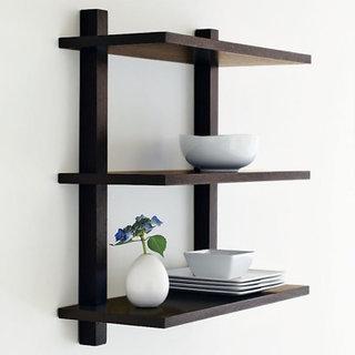 Onlineshoppee Beautiful Wooden Fancy Wall Decor Rack Shelves 3 Tier