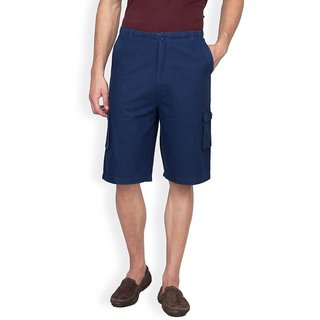 Hypernation Dark Blue Casement Cotton Shorts