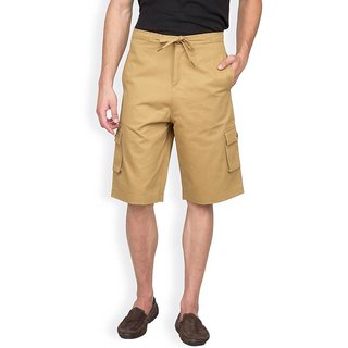 Hypernation Khaki Cotton With Drawstring Shorts