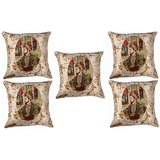 Set Of Five Shahjahan Cushion Cover Throw Pillow Design 1