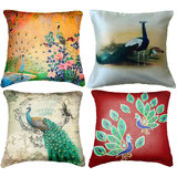 Set Of Four Peacocks Cushion Cover Throw Pillow