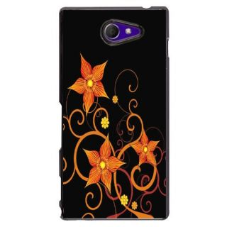 Sony Xperia M2 - Purple in Black Flower 2D Mobile Case Cover