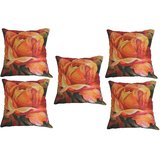 Set Of Five Beautiful Rose Cushion Cover Throw Pillow Design 1