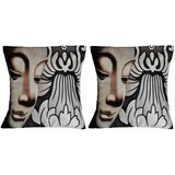 Pair Of Face With Flower Cushion Cover Throw Pillow