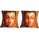 Pair Of Meditating Saint Cushion Cover Throw Pillow Design 1