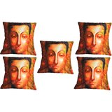 Set Of Five Meditating Saint Cushion Cover Throw Pillow Design 1