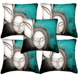 Set Of Five Faces Cushion Cover Throw Pillow Design 2