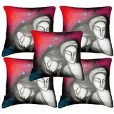 Set Of Five Faces Cushion Cover Throw Pillow Design 4