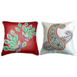 Combo Of Peacock 1 Cushion Cover Throw Pillow