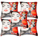 Set Of Five Stop Sign Cushion Cover Throw Pillow