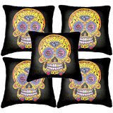 Set Of Five Skull 3  Cushion Cover Throw Pillow