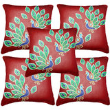 Set Of Five Peacock 1  Cushion Cover Throw Pillow