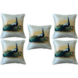 Set Of Five Peacock 3  Cushion Cover Throw Pillow