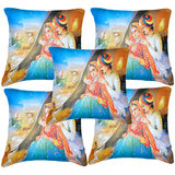 Set Of Five Banjara Painting Cushion Cover Throw Pillow