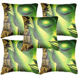 Set Of Five Indian Saint Cushion Cover Throw Pillow