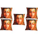 Set Of Five Meditating Saint Cushion Cover Throw Pillow