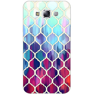 EYP White Red Blue Moroccan Tiles Pattern Back Cover Case For Samsung Galaxy J7