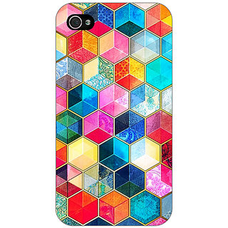 Enhance Your Phone Coloured Hexagons Pattern Back Cover Case For Apple iPhone 4 E10275