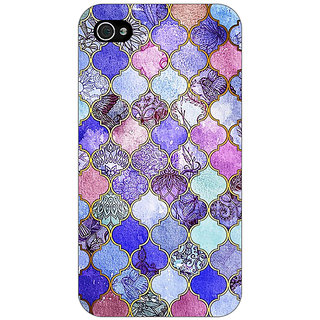 Enhance Your Phone Purple Moroccan Tiles Pattern Back Cover Case For Apple iPhone 4 E10291