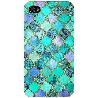 Enhance Your Phone Sky Blue Morocan Tiles Pattern Back Cover Case For Apple iPhone 4 E10292