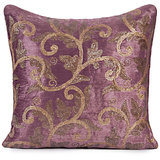 ROOHI - Wine Coloured Velvet Embroidered Cushion Cover - Set Of 2