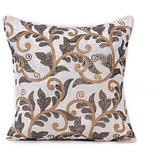 ROOHI - White Velvet Embroidered Cushion Cover - Set Of 2