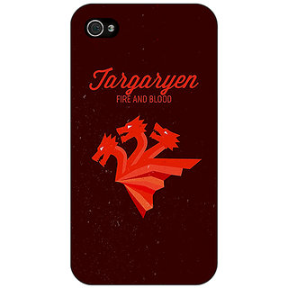 Enhance Your Phone Game Of Thrones GOT House Targaryen  Back Cover Case For Apple iPhone 4 E10137