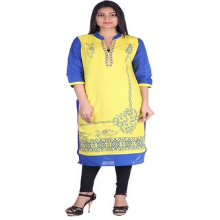 Jaipur Prints Yellow  Formal Kurta in Printed Body (HC29YELLOW)