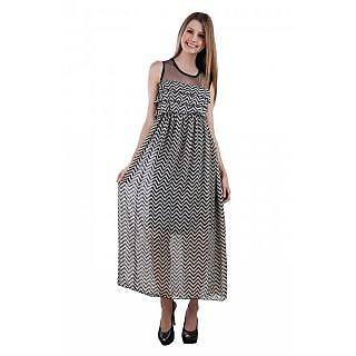 Westchic womens Zig-Zag With Net Long Dress