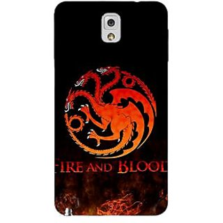 Enhance Your Phone Game Of Thrones GOT House Targaryen  Back Cover Case For Samsung Galaxy Note 3 N9000 E90142