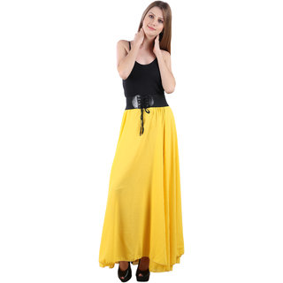 Westchic Womens Yellow Skirt With Belt