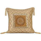 POND - Beige Polysilk Gota Worked Cushion Cover - Set Of 2