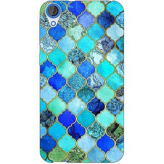 Enhance Your Phone Dark Blue Moroccan Tiles Pattern Back Cover Case For HTC Desire 820Q Dual Sim E360290