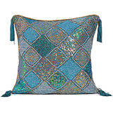 DIAMOND - Peacock Blue Silk Sequins Cushion Cover - Set Of 2