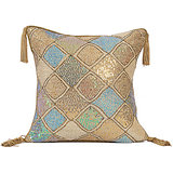 DIAMOND - Beige Silk Sequins Cushion Cover - Set Of 2