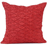 DORI - Red Pintex Pleeted Silk Cushion Cover - Set Of 2