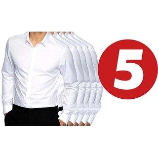 Grahakji Mens White Comfort Fit Formal Shirt