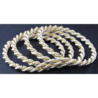 White pearl golden plated bangle set of 4