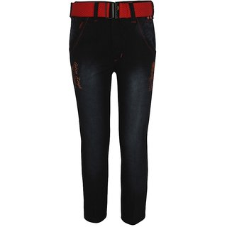 Baba Blue in color Denim Embroidered Regular fit Jeans