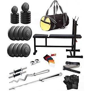 Total Gym 56 Kg Home Gym,2 Dumbbell Rods, 2 Rods(1 Curl), 3 In 1 (i/d/f) Bench,gym Bag,gym Belt