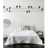 Decals - Myritzy Love Birds Pair Living Room Wall Decal (Black)