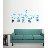Decals - Myritzy Love You Family Photo Frame Living Room Wall Decal (Blue)