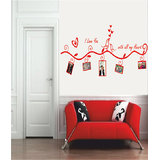 Decals - Myritzy Love You Family Photo Frame Living Room Wall Decal (Red)