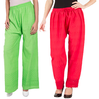 Komal Trading Co New Green Red Cotton Pajama Plazzo